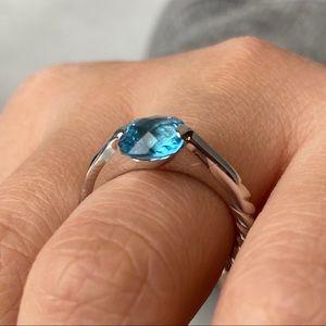 🛍 David Yurman 18 kt white gold blue topaz ring
